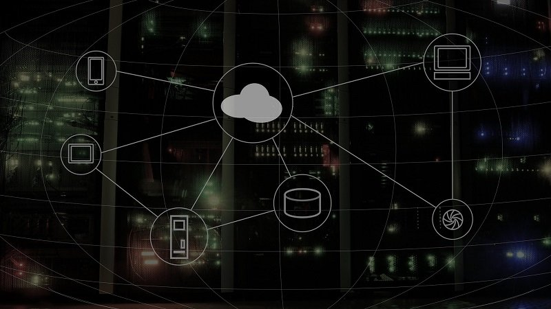 Cloud connecting various devices in a server room | Cloud Solutions by SkyViewTek